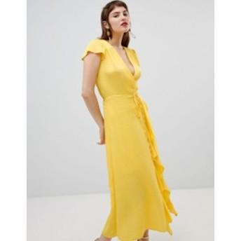リバーアイランド レディース ワンピース トップス River Island wrap front ruffle dress Yellow