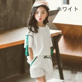 韓国子供服 女の子 上下 セットアップ 運動 夏着 女の子 2点セット 半袖 Tシャツ+ショートパンツ キッズスポーツパンツ韓国子供服 セッ