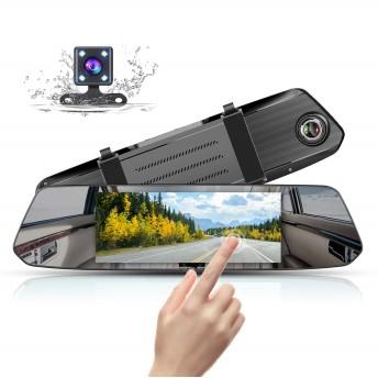 ドライブレコーダー バックミラー型 前後カメラ 1080PフルHD 7インチ タッチパネルIPS液晶 Gセンサー 170度広角 WDR ミラーモニター リアカメラ付属 常時録画 衝撃録画 駐車監視 取
