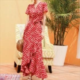 人気 夏物 ワンピース ロング丈 半袖 花柄 フリル フェミニン エレガント リゾート  hf02506