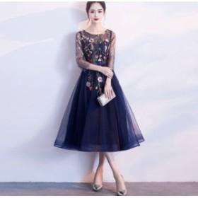 ワンピース 大人可愛い 花柄 刺繍 レース オシャレ 結婚式 お呼ばれ ドレス パーティードレス 二次会 DR1776