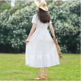 学園風 花柄 お呼ばれレトロ Aライン 半袖ワンピース キャバドレス 刺繍 ゆったり OL通勤 二次会 20代30代40代ロング丈ワンピ 結婚式