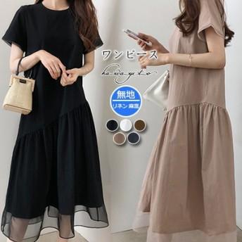 2019年新商品韓国ファッションレディースワンピース、棉麻半袖ロングワンピース