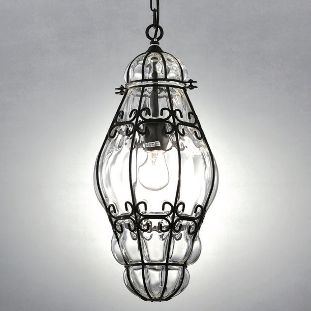 美式復古花邊鐵架玻璃罩橢圓吊燈
