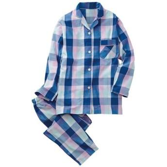 【レディース】 シャツパジャマ(綿100%) ■カラー:ブルー系 ■サイズ:M,L,LL,3L,5L