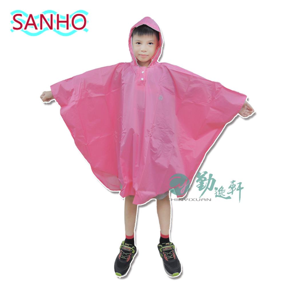 【Sanho】可愛熊尼龍雨衣披/粉紅色M(110cm~125cm)
