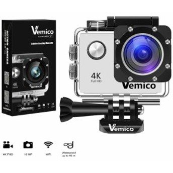 Vemico アクションカメラ 4K WIFI搭載 1600万画素 1080P 2インチ液晶画面 170度広角 40m防水 スポーツカメラ バイクや自転車/カート/車