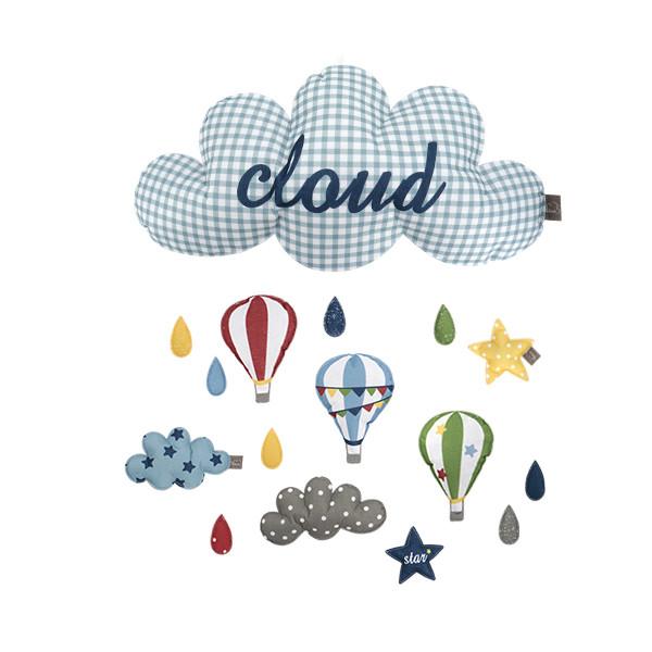 布料壁掛裝飾 雲朵氣球星星床鈴壁飾 掛件(成品) -icf90138