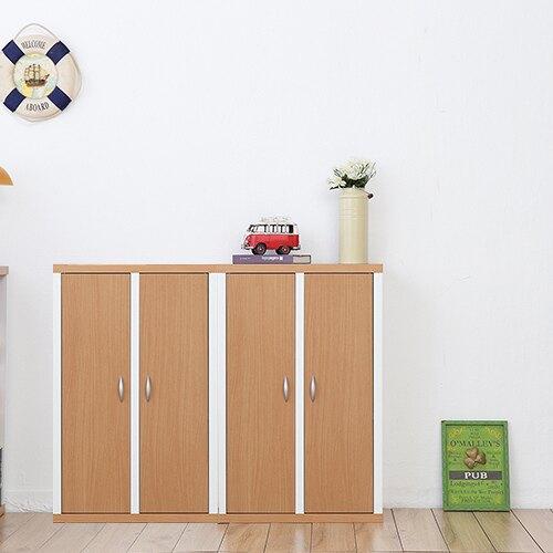 兩入一組《Accessco》日系雙色六格二門厚板收納書櫃
