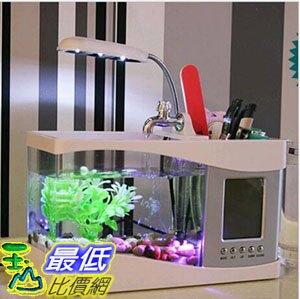 [107玉山最低比價網] USB 迷你 桌上型 魚缸 水族箱 LED檯燈 筆筒 萬年曆 溫度計 白款