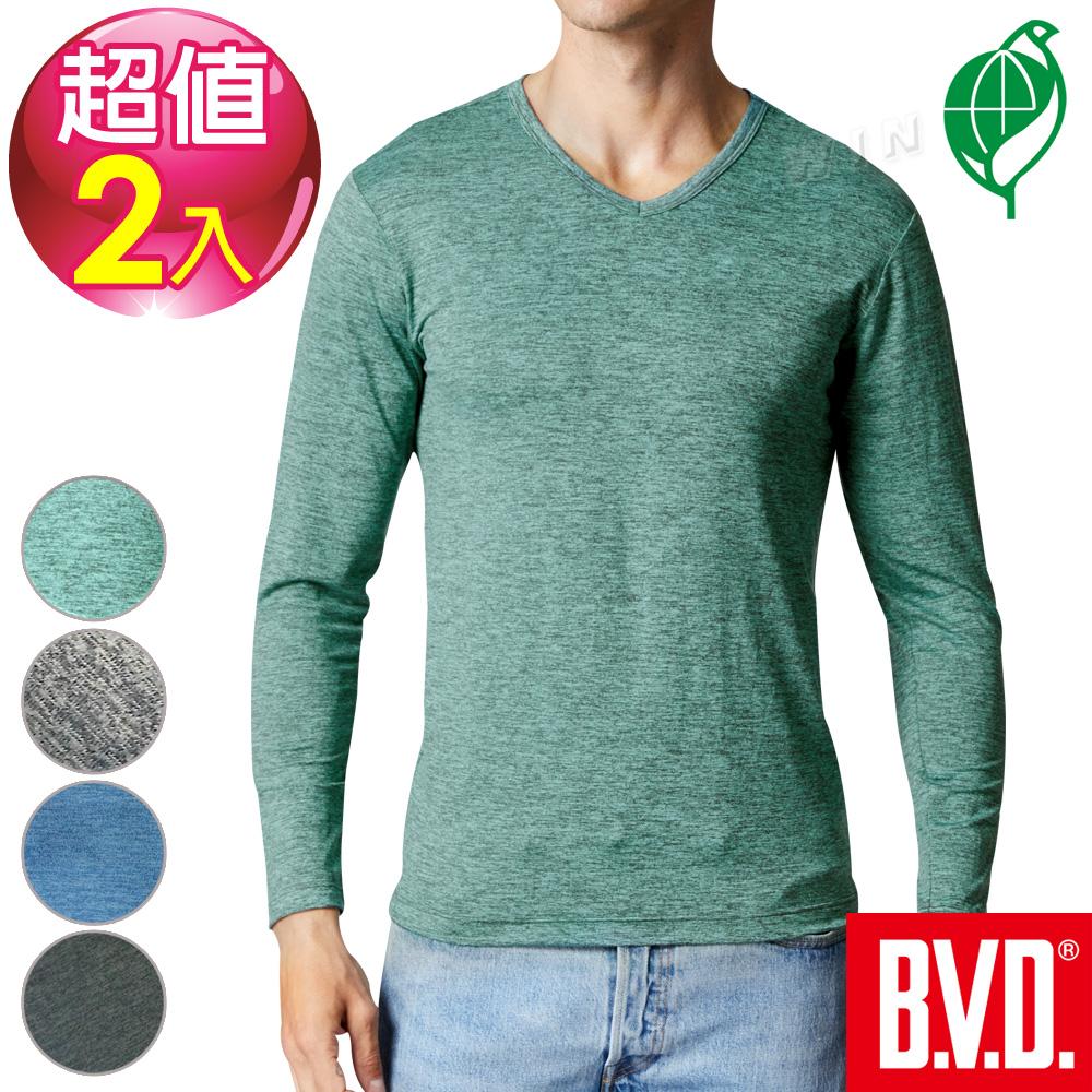 BVD 再生彩紋輕暖絨V領長袖衫(四色可選)-2件組