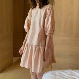 ワンピース レディース デイリー 半袖 無地 ピンク 綿100 マキシ 大きいサイズ 大人カジュアル 結婚式 40代 ファッション 50代