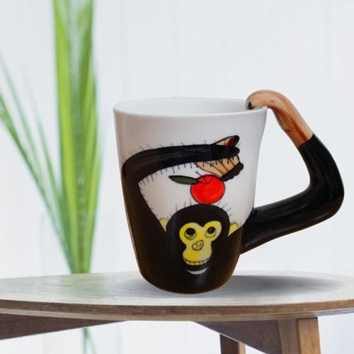 3d動物造型手繪風陶瓷杯- 黑猩猩(350ml)