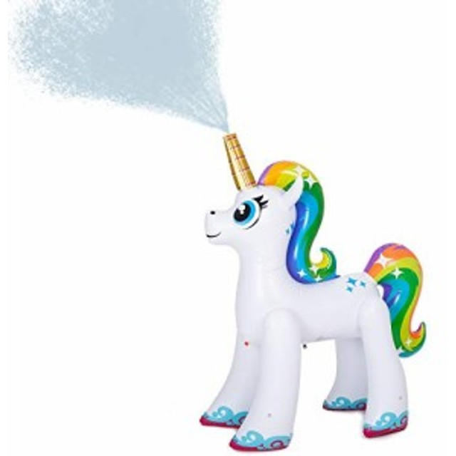 ユニコーン スプリンクラー(レインボー) 水遊び 噴水 熱中症対策にも! JOYIN Inflatable Unicorn Yard Sprinkler, Lawn Sprinkler for K