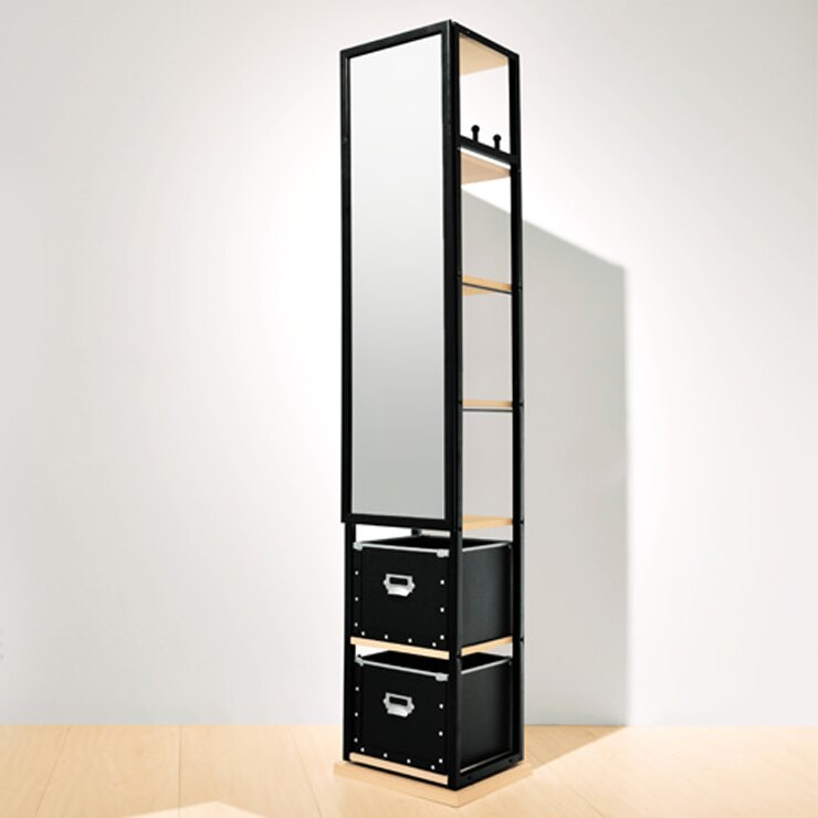 鏡子 立鏡 收納櫃 衣帽架 穿衣好朋友  尺寸:長寬30公分 / 總高170公分