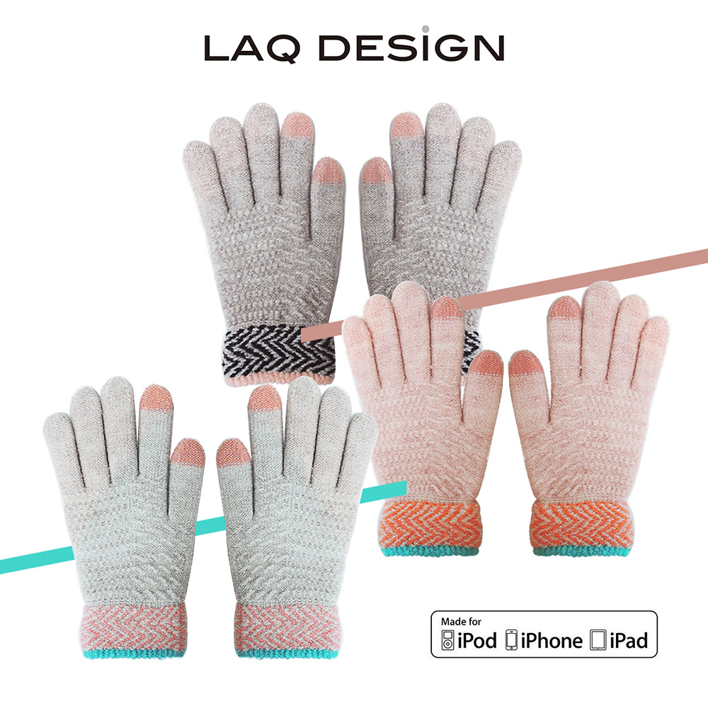 LAQ 2TIPS 菱形波紋兩指觸控毛線手套