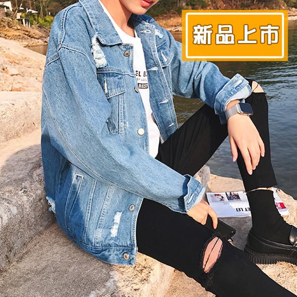 j06秋季韓版男士寬鬆刷破牛仔外套 夾克(m-xl)