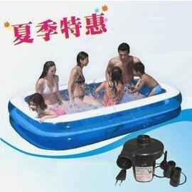 【二環長形充氣游泳池-內尺寸250*125*50cm-1套/組】外尺寸292*170*50cm 家庭充氣水池 藍白二環長方形充氣水池游泳池-76033