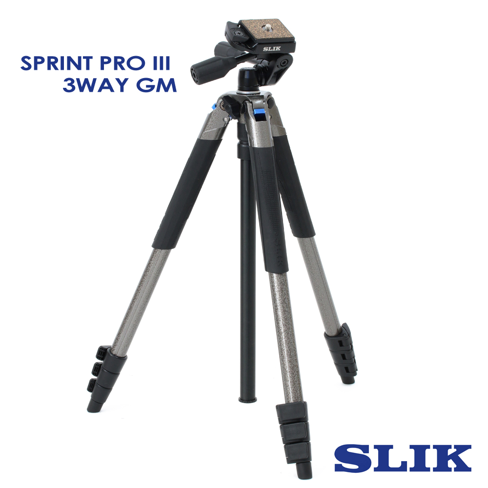 日本 SLIK Sprint Pro III 3 Way GM 附 SH-704E 三項雲台 鐵灰