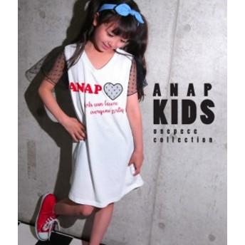 【60%OFF】ドットチュール使いワンピース【ANAP KIDS アナップキッズ tシャツ ワンピース ロゴ キッズ ワンピ ミニワンピ tシャツワンピ