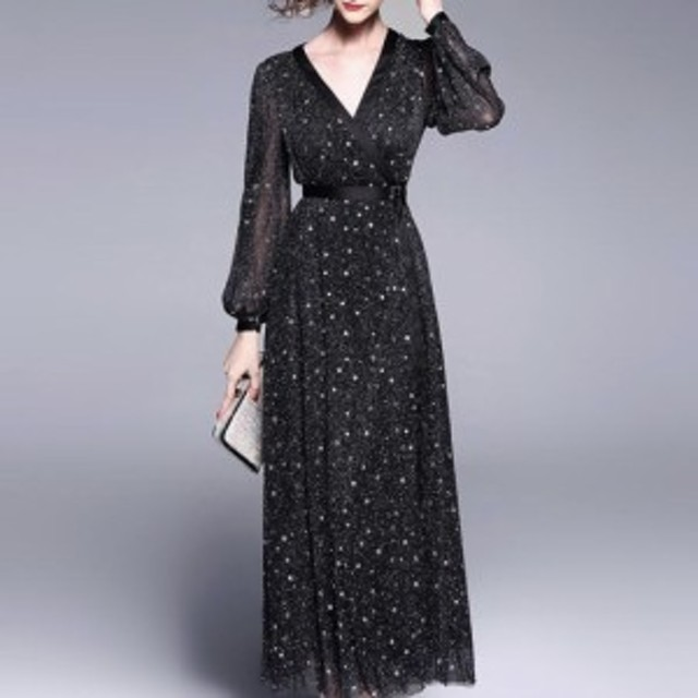 ドレス フレアースカート パーティードレス 肩リボン 星柄 刺しゅう 膝丈ワンピース ひざ丈 xlサイズ 大きいサイズ ノースリーブ 韓国 ミ