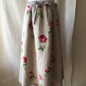 <一点物>ローズプリントのリネンスカート