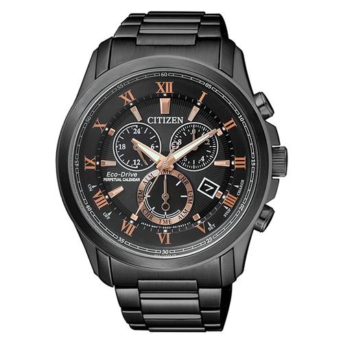 CITIZEN 星辰 GENT'S亞洲限定時尚品味光動能萬年曆三眼計時腕錶-黑x金(BL5545-50E)