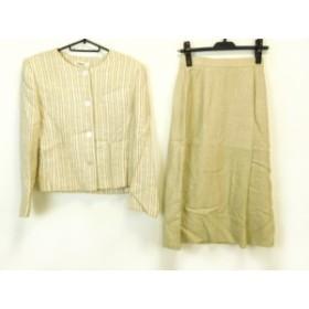 クロエ Chloe スカートスーツ サイズ38 M レディース 美品 ベージュ×ライトブラウン×マルチ ストライプ/肩パッド【中古】