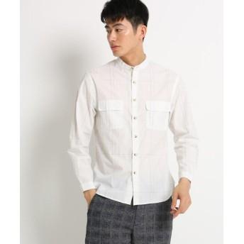 【60%OFF】 ザ ショップ ティーケー バンドカラーチェックシャツ メンズ オフホワイト(303) 02(M) 【THE SHOP TK】 【セール開催中】