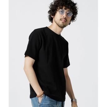 【50%OFF】 ナノ・ユニバース 二重編みミニワッフルTシャツ半袖 メンズ ブラック S 【nano・universe】 【セール開催中】