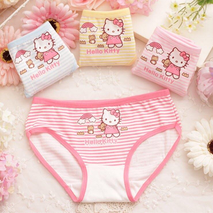 條紋hello kitty全棉兒童內褲/嬰幼兒三角褲/女童內衣內褲(2件一組)