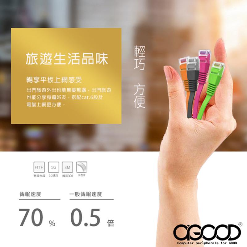 a-good彩色超高扁平網路線 cat.6-5m