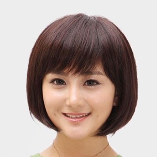 米蘭精品 整頂假髮真髮短假髮-斜瀏海時尚可愛鮑伯頭女假髮73uu14