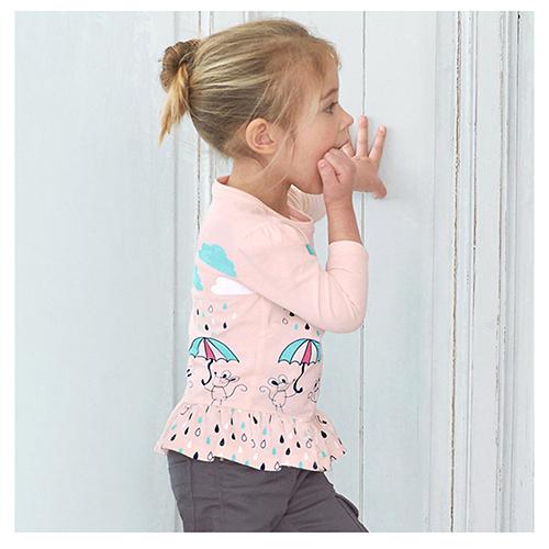 歐美風格女童純棉長袖T恤-Raining(W103)