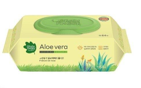 【Green Finger】 綠手指 蘆薈滋潤純水紙纖型濕紙巾64抽(包)