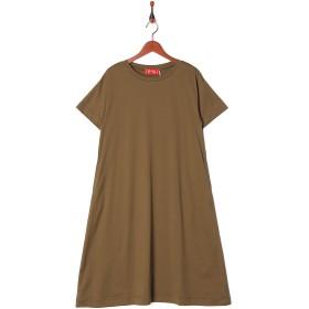 LILLY LYNQUE LOTUS 半袖裾フレアカットOP○8707102 Khaki ワンピース