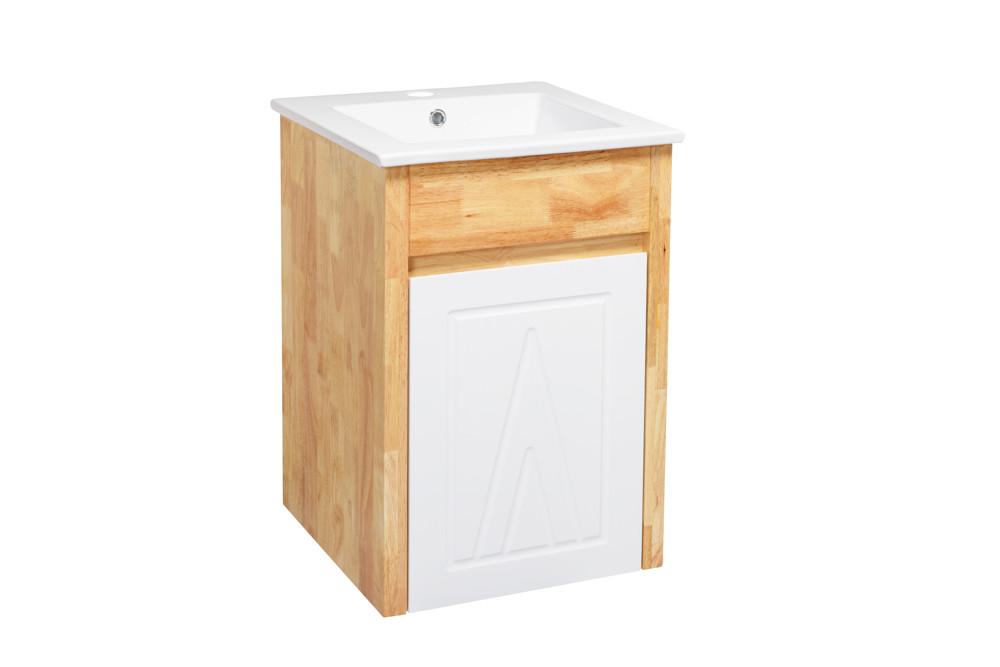水龍頭+木紋浴櫃面盆組 寬41cm 深41cm 高62cm 鄉村風格 橡木實木