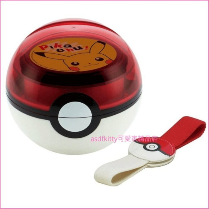 asdfkitty可愛家☆寶可夢 神奇寶貝 皮卡丘 寶貝球造型雙層便當盒附束帶-日本正版商品