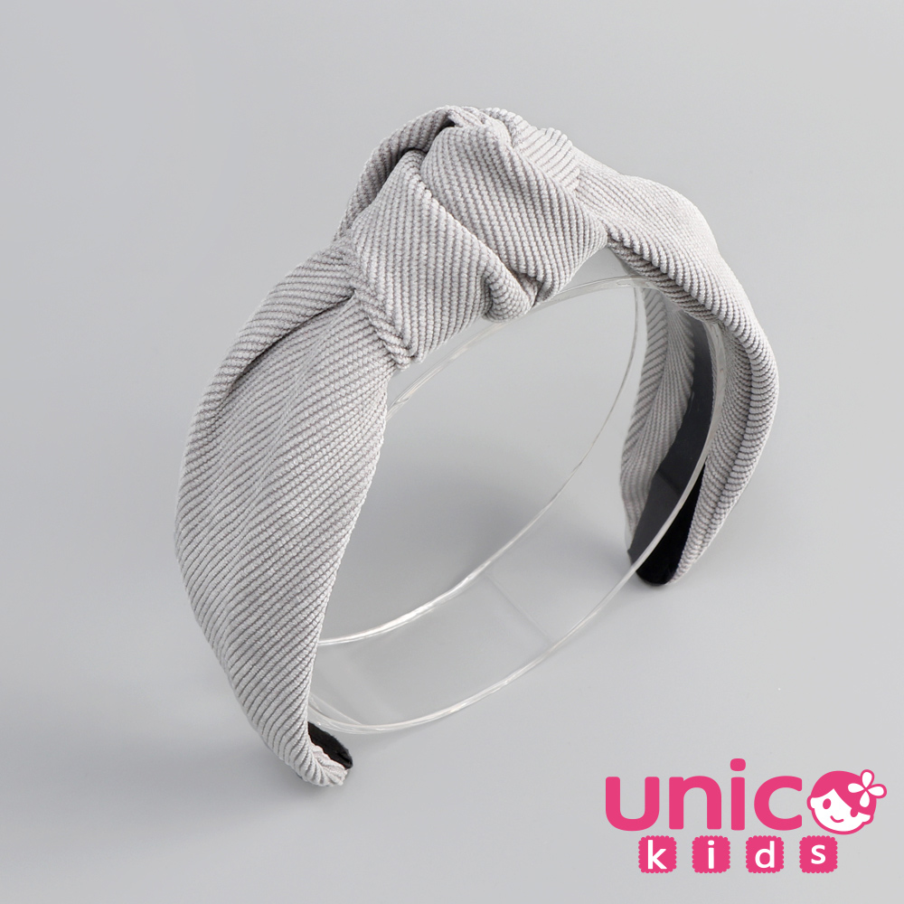 UNICO 兒童韓國親子系列燈芯絨髮箍/髮飾-淺灰