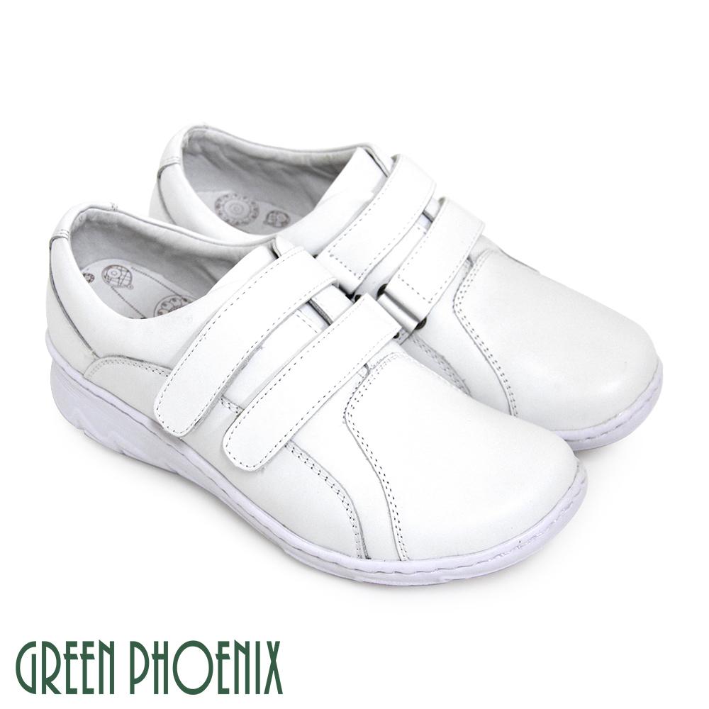【GREEN PHOENIX】素面手縫吸震沾黏式全真皮輕量厚底氣墊鞋U24-25329