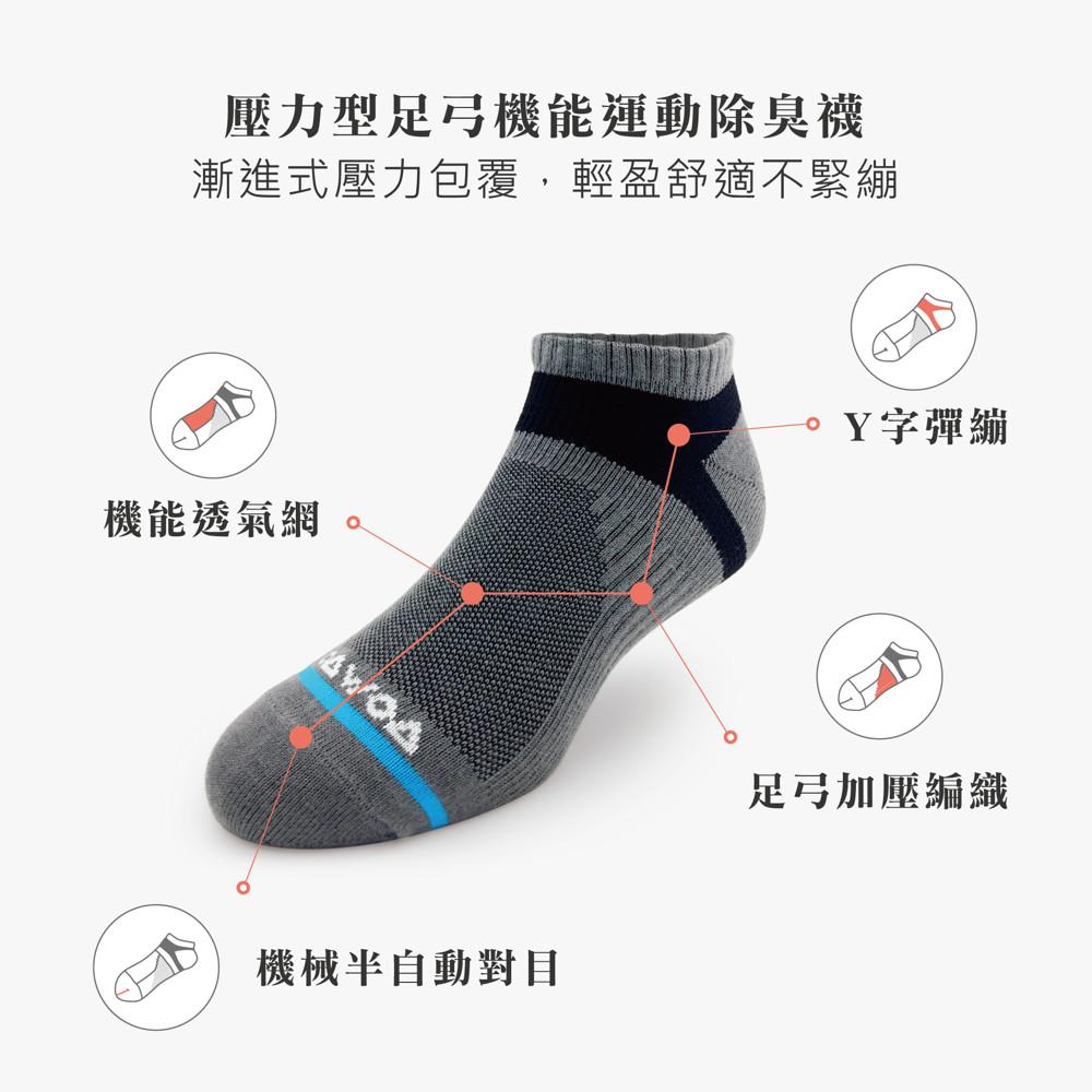 襪襪woawoa  壓力型運動除臭襪-男 4色