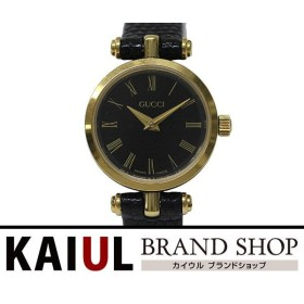 グッチ レディース クオーツウォッチ GP(ゴールドメッキ)×レザーベルト ブラック A+ランク/中古 グッチ腕時計