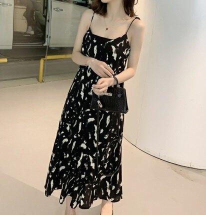中大尺碼女裝預購款_夏季新款韓版時尚百搭寬鬆顯瘦印花細肩帶洋裝_L-4XL (F4)