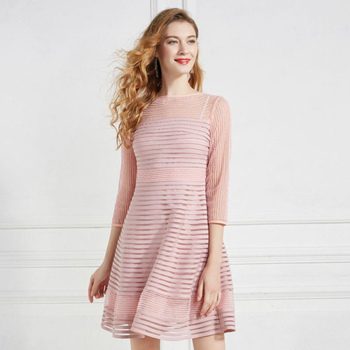 Olivia奧莉精品 浪漫粉坑條釘珠紋修身蕾絲洋裝 M~4XL 洋裝 連身裙 禮服 伴娘服 媽媽裝