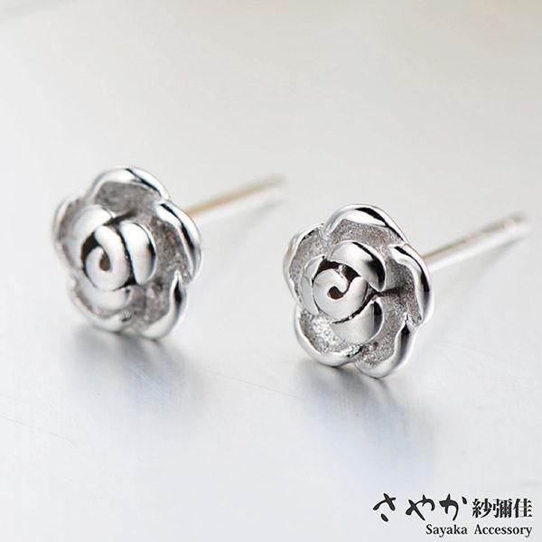 sayaka紗彌佳925純銀香謝玫瑰鑲鑽造型耳環