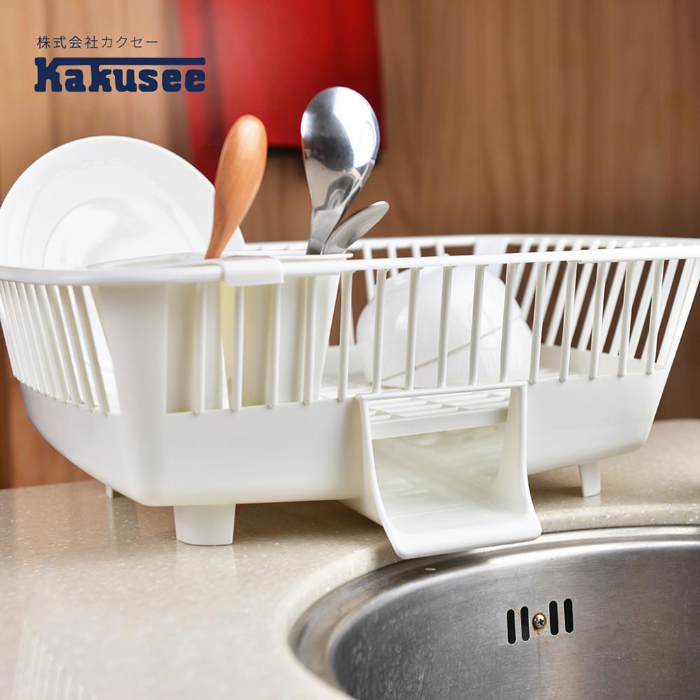 日本kakusee料理道具導水式碗盤晾置籃-直放式