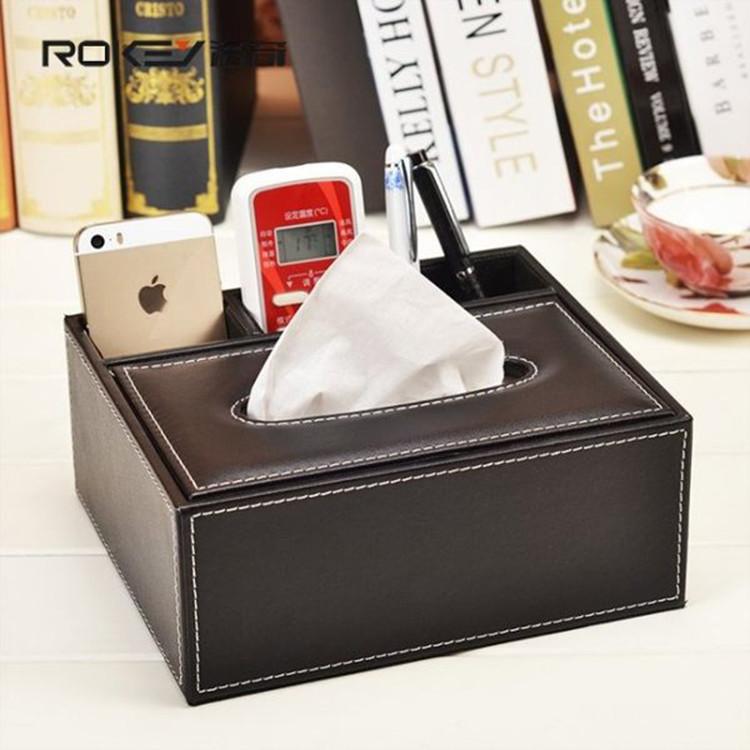 促銷 歐式桌面 皮質多功能收納盒 面紙盒 (小款)