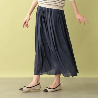 SALE【エムピー ストア(MP STORE)】 ヴィンテージサテンギャザースカート ネイビー