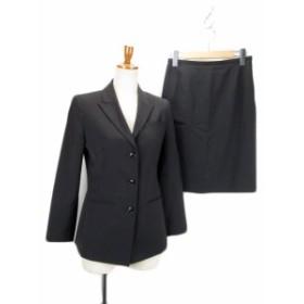 【中古】スーツ ジャケット スカート ストライプ ウール 1 黒
