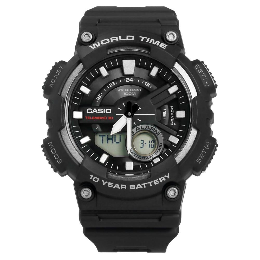 CASIO / AEQ-110W-1A / 卡西歐酷勁潮流電話號碼雙顯橡膠腕錶 黑色 46mm